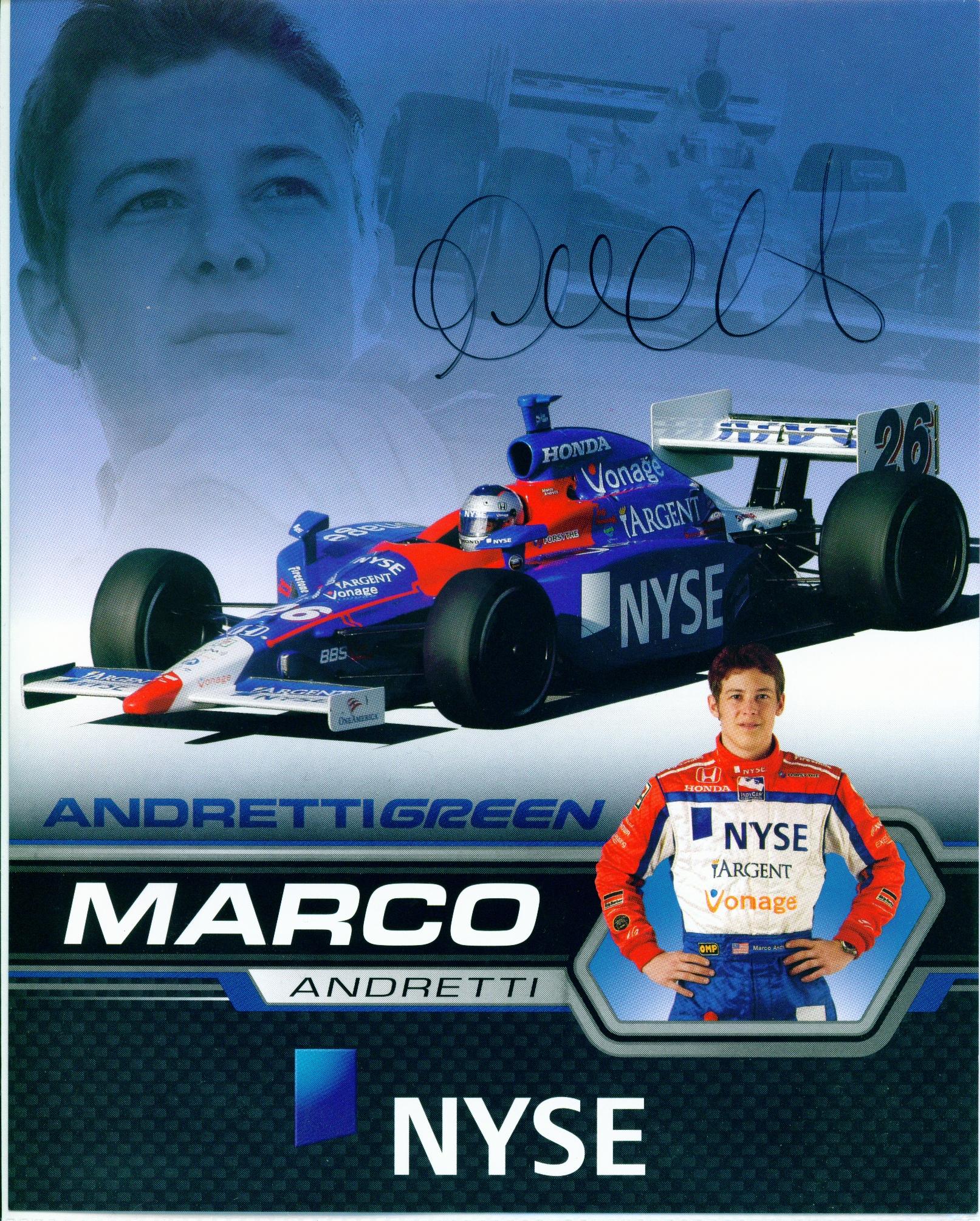 Mitch\'s Autographs / Marco Andretti 8 x 10